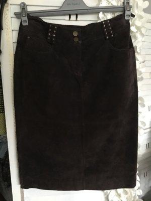 Passport Leather Skirt dark brown leather