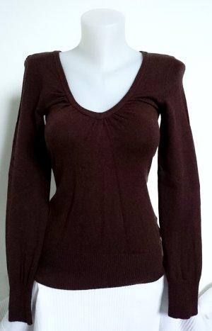 Brauner Pullover mit V-Ausschnitt (Gr. XS)