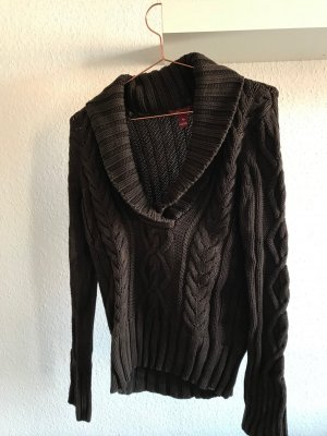 H&M L.O.G.G. Coarse Knitted Sweater dark brown cotton