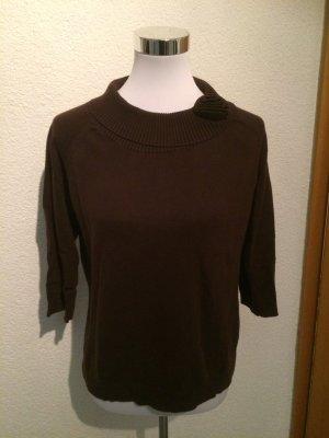 brauner Pullover / Pulli mit Kragen - Gr. 38
