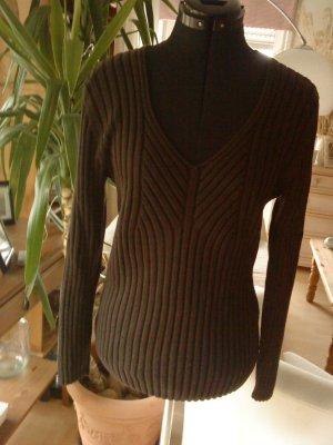 brauner Ripp-Pullover in M 40