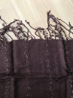 H&M Bufanda de flecos marrón oscuro