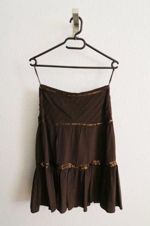 brauner Seidenrock von Hallhuber im Vintagelook