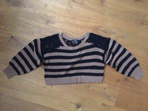 Brauner Spitzen Pullover Streifen Pullover NEU 37 38
