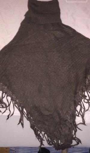 Vero Moda Poncho de punto marrón-negro-color bronce