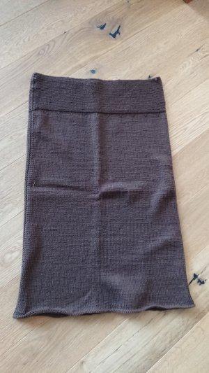 Falda de punto marrón-marrón oscuro
