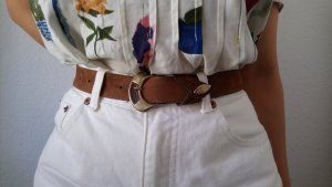 Brauner Vintage-Taillengürtel mit auffälliger Schließe 75 Suede Lederoptik 50s Retro