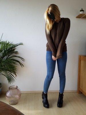 Brauner Woll Pullover von Zara in Größe L