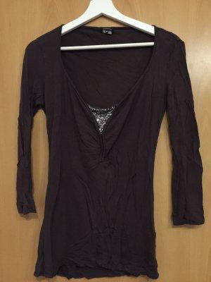 Braunes 3/4-Arm-Shirt mit Pailletten
