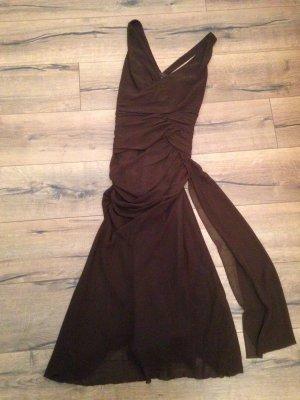 Braunes Abendkleid mit Raffung in Taille