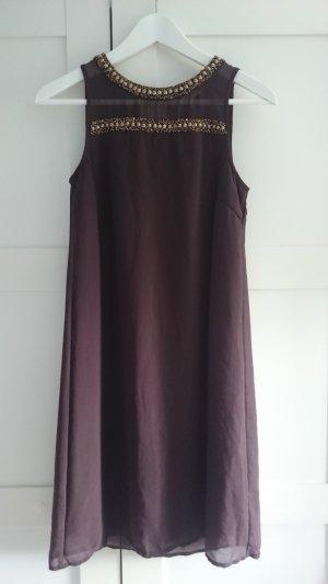 braunes Chiffon-Kleid mit Perlenstickerei
