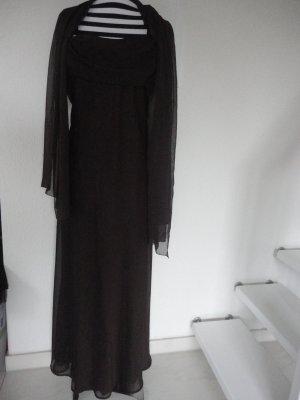 Braunes chiffonartiges Abendkleid in Gr. 44/46