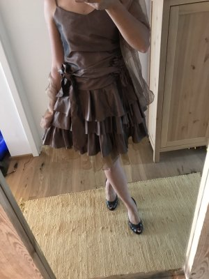 Braunes Cocktailkleid Abendkleid Volant mit Stola