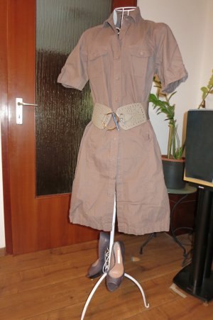 Shirtwaist dress brown cotton