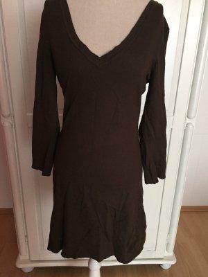 braunes Kleid mit V-Ausschnitt Longshirt