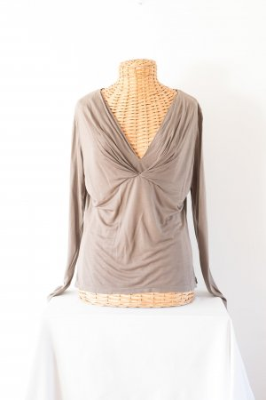 René Lezard V-hals shirt grijs-bruin Modal