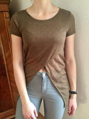 Braunes langes T-Shirt mit Schlitz vorne Gr. S