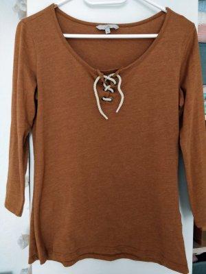 Clockhouse V-Neck Shirt brown-cognac-coloured