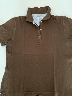 Tommy Hilfiger Polo Shirt brown-dark brown cotton