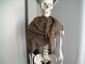 braunes quadratisches Tuch mit Leoparden-Muster und Fransen