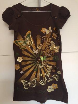 Braunes Shirt mit Schmetterlingen, Pailletten und Schmetterlingsknöpfen