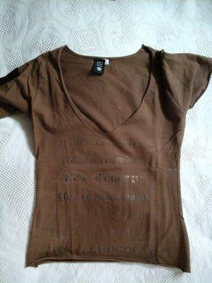 braunes Shirt Top mit V-Ausschnitt und Aufdruck
