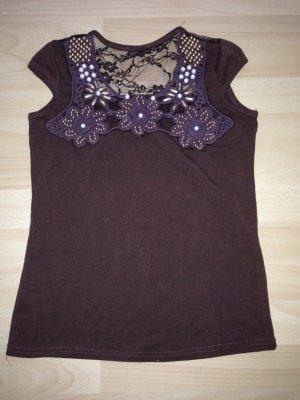 Braunes Sommer T-Shirt mit Perlen und Spitze am Rücken