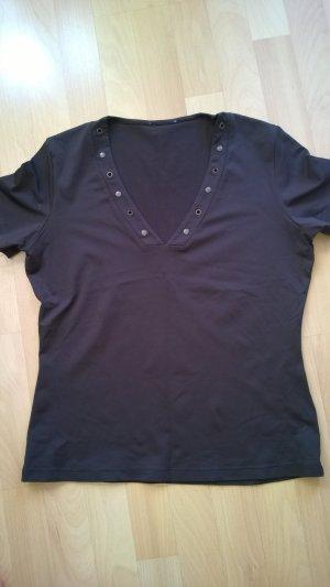 Braunes T-Shirt mit wenigen Nieten am Ausschnitt, Größe 38/40