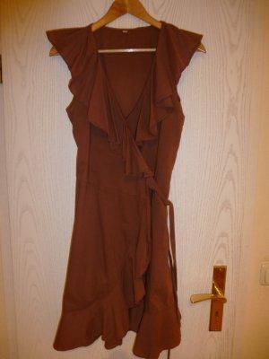Robe portefeuille brun coton