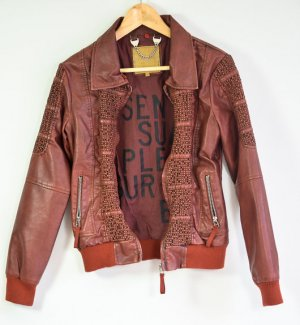 Braunschwarze Jacke aus Lederimitat