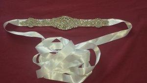 Brautgürtel Gürtel Strass Applikationen Hochzeit Wedding Bridal Sash Satin