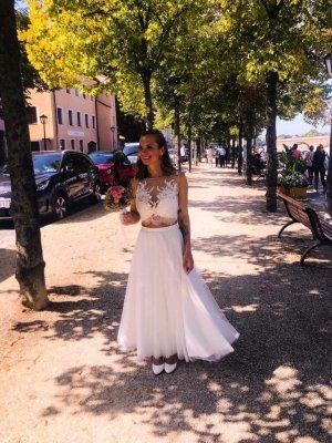 Brautkleid / 2-Teiler mit langer Schleife am Rücken