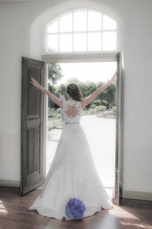 Brautkleid A-Linie, ivory, Designerin Marylise, Tattooeffekt Rücken und Perlenstickerei