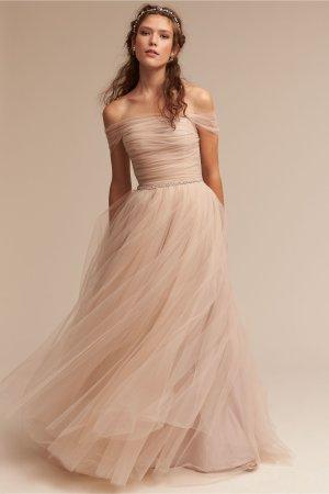 Anthropologie Abito da sposa beige chiaro-crema