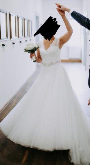 Lilly Vestido de novia blanco puro-blanco tejido mezclado