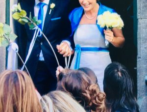 Wedding Dress white-blue silk