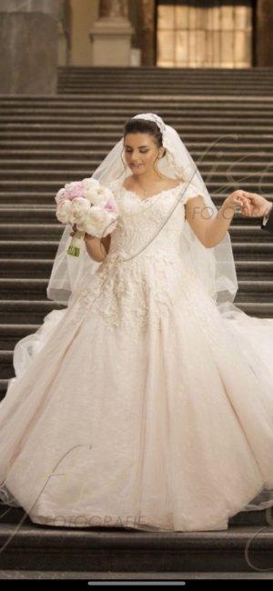Robe de mariée blanc-rosé
