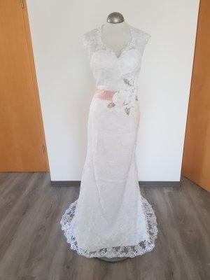 Vestido de novia blanco-color rosa dorado