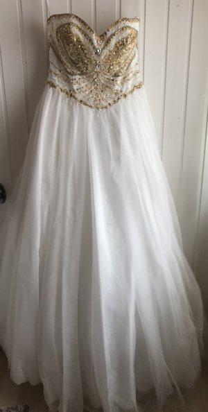 Brautkleid Hochzeitskleid Gold weiß 38 40 Tüll Prinzessin herzausschnitt