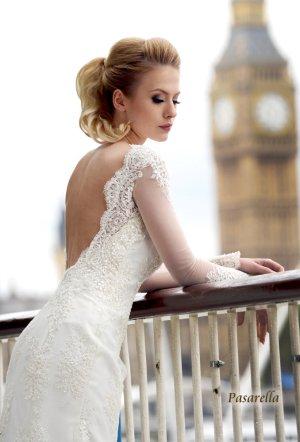 Brautkleid Hochzeitskleid Gr. 36-38 weiß Spitze A-Linie