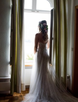 Brautkleid Hochzeitskleid La Sposa Pronovias Softtüll Blush spitze