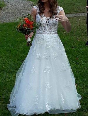 Très Chic Sartorial Vestido de novia blanco-blanco puro