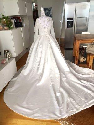 Brautkleid Kleid Prinzessin Satin Perlen Strass neu Gr L weiß