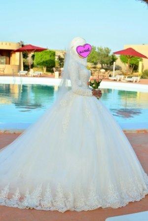 Brautkleid langarm Spitze Perlen tüll hijab hidschab