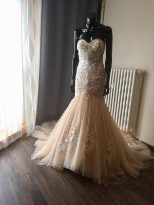 Brautkleid Meerjungfrau/Fit'n'Flare - Gr. 40 - Champagner - Neu