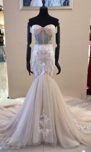 Brautkleid Meerjungfrau - UVP 1.299€ - Champagner - extravagant - 38/40 - Neu