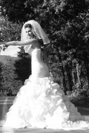 Brautkleid, Meerjungfrau, weiss mit Steinen