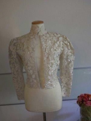 Brautkleid mit Jäckchen,  Reine Seide, Pailletten