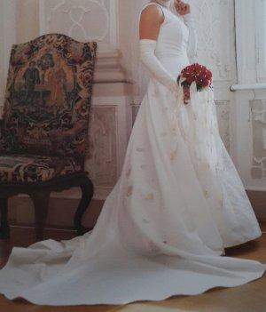 Brautkleid One Shoulder Kleid Perlen Hochzeitskleid Ivory Schleppe