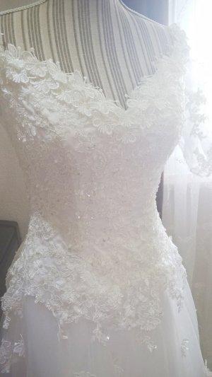 Brautkleid, Schulterfrei, Ärmel, 36 38, Handarbeit, NEU